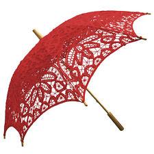 Willow Tree Cotton Battenburg Lace Wedding Parasol Red Umbrella