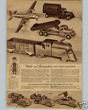 1942 PAPER AD Keystone ? Ride Em Locomotive Toy Army Truck Streamline Dump