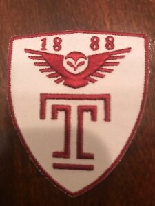 """TU Temple University owls vintage iron on embroidered patch 2.5"""" X 2"""""""