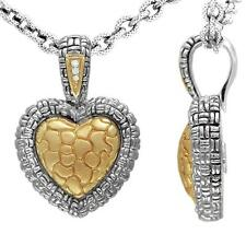 Philip Andre 18K Gold & Sterling Silver Diamond Heart Pendant  Necklace Enhancer