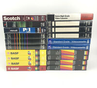 Lot of 20 NEW & Sealed Mixed Brand Blank VHS Tapes BASF Maxwell Gemini Scotch