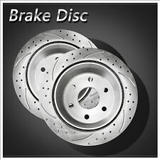 2pcs Rear Left+Right Drilled Slotted Vented Disc Brake Rotors Chevy GMC Cadillac