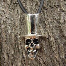 E23 Gothic Charlie Skeleton Pendant Women Pewter Necklace Men Hat Skull Classic