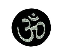 Patch iron on Ohm black hindu applique backpack om peace and love hippy aum tao