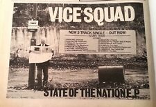 VICE SQUAD State of Nation Tour 1982 UK Press ADVERT 12x8 inches