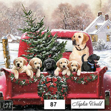 (87) TWO Individual Paper LUNCHEON Decoupage Napkins - RED TRUCK DOGS CHRISTMAS
