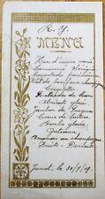 Menu: 1919 French Handwritten w/Gold Floral Designs - Ananas au Champagne