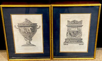 PAIR Antique Giovanni Piranesi 1770's Framed Engraving of Antique Urn/Vase 23x17