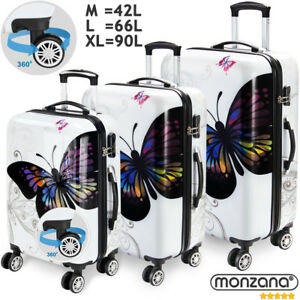 Monzana® Hartschalenkoffer Butterfly Trolley Reisekoffer Koffer M L XL 4 Rollen