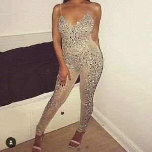 Missguided Carli Bybel Nude Bead Body Bodycon Unitard Playsuit Jumpsuit 12 to 16
