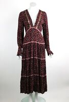 Free People Take A Little Time Midi Dress Floral V-Neck Long Sleeve Black XS New