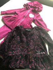 GUESS BABY GIRLS 3-pc VELOUR HOODIE SWEATER &  PANTS DRESS SIZE 12 MONTH