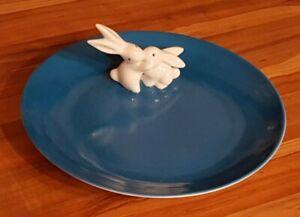 Goebel Porzellan Ostern Hasenteller Osterteller Bunny de luxe ocean blue