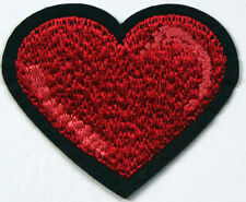 Red Love Heart Embroidered Iron Sew On Patch Valentine Applique Badge Motif