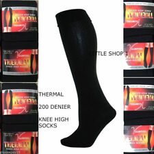2X Women Ladies Thermal Knee High Winter Socks Lot Fleece Lined Black 200 Denier