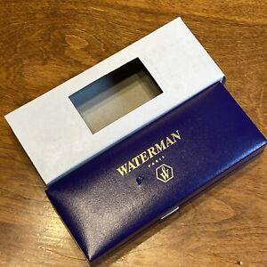 VNTG 80's WATERMAN PARIS BLUE Pen BOX ONLY NEW CONDITION White Satin Gold Print