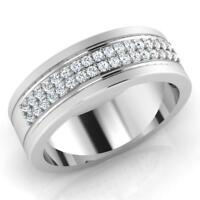 0.28 Ct Round Natural Diamond Wedding Mens Ring 14K White Gold Band Size U