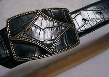 Oscar de la Renta Designer Women's Belt Luxe LG Genuine Leather Statement Buckle