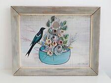 RARE Vtg 50s 1957 Outsider Folk Art Bird 3D Flowers Painting William J. Melin