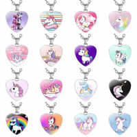 Children's Cartoon Unicorn Heart Pendant Necklace Heart Shaped Necklaces