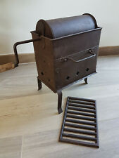 French antique large tole coffee roaster cylindrical original