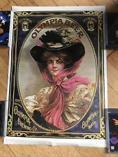 1909 Greetings Poster Olympia Beer Brewery Advertising Litho No Pin Holes 1975