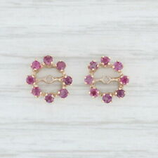 0.80ctw Ruby Halo Earring Enhancers 14k Yellow Gold for Pierced Studs