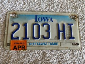 Iowa Embossed 2103-HI Motorcycle Genuine Pre-Owned USA License Plates