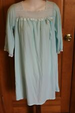 Vintage Sears Roebuck Acetate Nightgown Aqua Blue Medium 60s 70s Soft