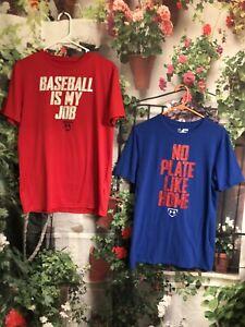 Lot of 2 T-shirt 's Boys SIZE YXL Loose Under Armour Baseball Red Blue Heatgear