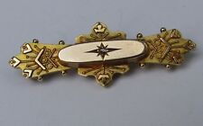Victorian 9ct Yellow 375 Gold Star Diamond Sweetheart Locket Pin Brooch Hallmark