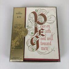 Set 25 Blank Unused Vtg 50s 60s Xmas Norcross Greeting Cards Envelopes Red Gold