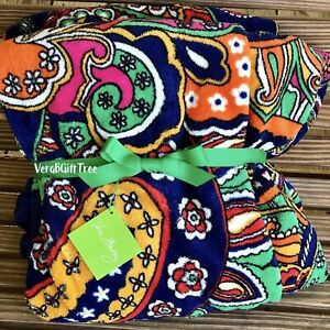 Vera Bradley Throw Blanket VENETIAN PAISLEY Bold Colorful RARE NWT New GIFT