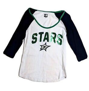 Womens Dallas Stars 3/4 Sleeve Tee New Era By 5th Ocean White Black Green Sz: S