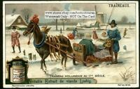 17th Century Dutch Snow Horse Sleigh Sled Winter 1910 Trade Ad Card
