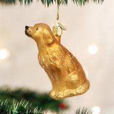OLD WORLD CHRISTMAS SITTING GOLDEN RETRIEVER DOG GLASS CHRISTMAS ORNAMENT 12282