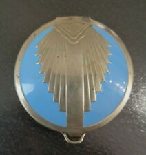 EVANS, Art Deco, Turquoise Blue Enamel and Silver Tone, Vintage Mesh Compact.