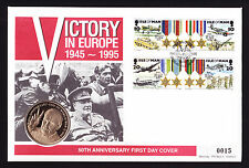 1995 IOM Isle of Man Medal stamps & coin on 50th VE Day FDC First Day Cover FDI