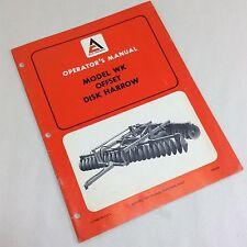 Allis Chalmers Model Wk Offset Disk Harrow Operators Owners Manual Set Up