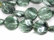 16MM RUSSIAN SERAPHINITE GEMSTONE AAA GREEN FLAT ROUND CIRCLE LOOSE BEADS 7.5""