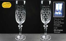 Personalizzata Champagne Flute's regalo di fidanzamento in Raso Foderato BOX REGALO
