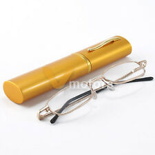 Gold Lightweight Elder Eye Reading Glasses w/ Aluminum Pen Hold Tube Case + 1.00