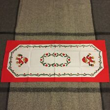 Vintage Swedish Christmas Red and White Santa Runner Hearts Twigs New