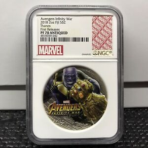 2018 Fiji 2oz Silver Coin Marvel Infinity War Thanos NGC PF70 First Releases