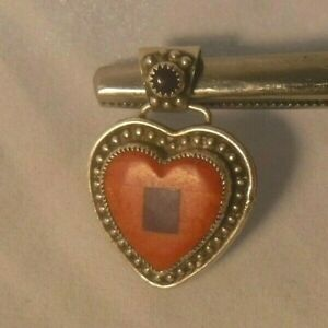 Famous ALDRICH Southwest Mosaic Inlay Sterling Silver Heart Pendant NICE