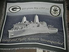 USA.MARINES.NAVY SHIP.USS GREEN BAY (LPD 20).WOVEN.COTTON.TAPESTRY.AFGHAN.THROW