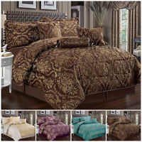 7 Piece Jacquard Bedspread Quilted Bed Throw Double Size Bedding Comforter Set