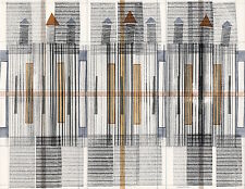 """Original pen and ink abstract artwork on paper 11""""x14"""" modern art architectural"""