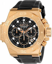 Invicta hombres Akula 23104 oro Rosa cuero cuarzo reloj de buceo
