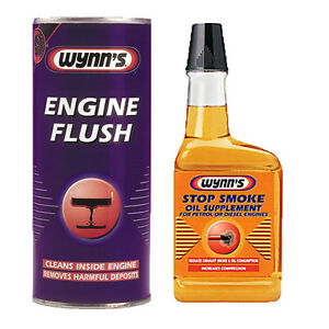 WYNNS 2 PACK ENGINE FLUSH ADDITIVE + OIL STOP SMOKE EXHAUST PETROL & DIESEL
